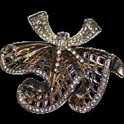 Elegant Vintage MAZER Sterling Silver RUFFLE Bow Skirt Rhinestone Brooch