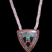 Santo Domingo Mosaic Turquoise Jet Thunderbird Pendant Necklace Inlay Pipestone