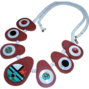 Vintage Santo Domingo Kachina Mosaic Inlay Necklace Turquoise, Jet, Coral, Mother of Pearl, Pipestone