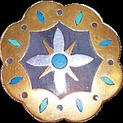 Vintage Los Castillo Sterling Silver Onix Negro Pin Brooch