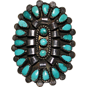 Vintage Pawn ZUNI INDIAN Petit Point Sterling & Turquoise Cluster Ring, Size 6