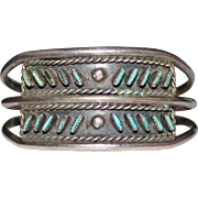 Old Pawn ZUNI INDIAN Needle Point Turquoise Sterling Cuff Bracelet