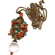 Art Deco Chinese Turquoise, Coral, Pearl & Rock Crystal POOLS OF LIGHT Pendant Necklace