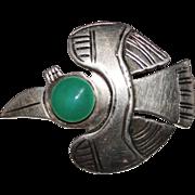 Vintage Graziella Laffi Sterling Enamel Bird Pin Brooch, Peru
