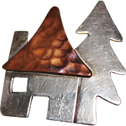 ANNE HARVEY Sterling Silver & Copper House Cabin Tree Brooch Pin, Mexico