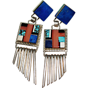 Gorgeous Navajo Indian Signed RM Multi Stone Inlay Earrings, Lapis, Turquoise