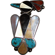 Old Pawn Zuni Indian Multi Stone Inlay THUNDERBIRD Pin Brooch, Sterling