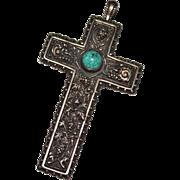 Vintage Andrea Barnett Sterling Silver Cherub Grapes Turquoise Cross Pendant '92