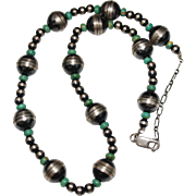 "Estate Sterling Silver Navajo Pearls & Green Turquoise Necklace 14"" to 18"", 12mm"