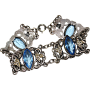 Art Deco Blue Glass Faux Pearl Filigree Openwork Bracelet