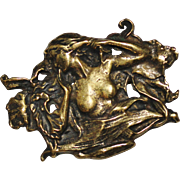 Hand Made Cast Bronze Nouveau Style Nude Lady Brooch Pendant