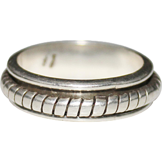 Estate Mexican Sterling Silver Ribbed Spinner Ring, Size 14, Mexico 13.28 Grams