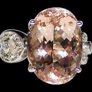 Elegant & Bold 14k White Gold MORGANITE & Diamond Cocktail Ring, 13.8+CTW, Size 7