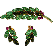 Vintage JULIANA Peridot Green & Pink Rhinestone Leaf Brooch, Earrings Set