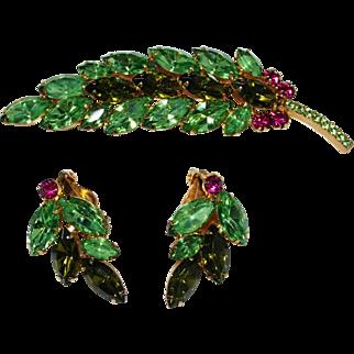 Vintage JULIANA Peridot Green & Pink Rhinestone Leaf Brooch, Earrings Set