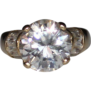 7 CARAT 14k Yellow Gold CZ Cubic Zirconia Solitaire Engagement Ring, Size 6.75