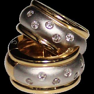 14k White & Yellow Gold Diamond Huggie Hoop Earrings, .12 CTW, 6.7 Grams