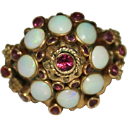 Vintage 10k Yellow Gold White Opal & Ruby Thai Harem Princess Ring, Size 6, 6.3G