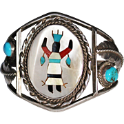 Vintage Sterling Navajo Inlay Gaan Crown Kachina Dancer Cuff Bracelet, Turquoise