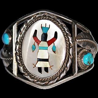 Vintage Sterling Navajo Inlay Gaan Crown Kachina Dancer Cuff Bracelet, Turquoise