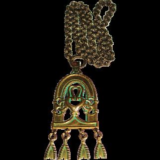 """Vintage Bronze Sculptural Necklace Kalevala Koru Necklace, Finland, 24"""" Long"""