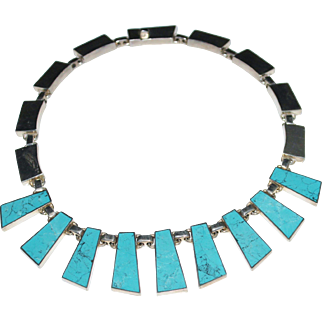 Cleopatra Style Sterling 950 Silver Turquoise Mexican Necklace, Mexico, Signed 124 Grams
