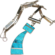 Navajo Indian HAROLD SMITH Sterling & Turquoise Inlay Kachina Pendant Necklace