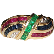 Estate 14k Yellow Gold RUBY, SAPPHIRE & EMERALD Band Ring, Size 7, 4.3 Grams