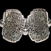 Vintage NAPIER Silvertone Asian Themed Openwork Panel Bracelet, BOLD