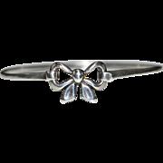 Vintage JAMES AVERY Sterling Silver Hinged Bow Bangle Bracelet, Artisan Signed