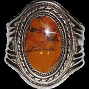 HUGE Vintage NAVAJO Indian Petrified Wood Cuff Bracelet, Sterling, 115 Grams
