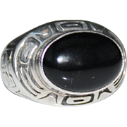 Vintage CAROL FELLEY Sterling Black Onyx Northwest Coast Indian Ring Size 6