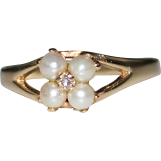 Estate 14k Yellow Gold Cultured Pearl & Diamond Ring, Size 7 1/2, 2 Grams