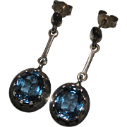 Vintage Sterling Silver Blue Topaz Dangle Drop Earrings, Mexican, Mexico TD-21