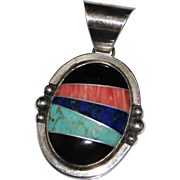 Navajo Indian G. Binkin Sterling Inlay Turquoise Lapis Onyx Spiny Oyster Pendant
