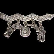 Vintage Sterling Silver Navajo Indian Crooked Arrow Charm Brooch Cowboys Western
