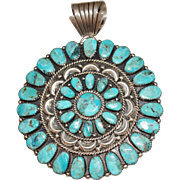 Navajo Juliana Williams Turquoise Concho Pendant Brooch, Petit Point, Sterling