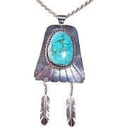 Vintage Navajo Native American SIGNED Sterling Silver Turquoise Pendant Necklace, CARL LUTHY SHOP