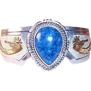 Wes Craig IHMSS Navajo Sterling & Gold Fill Denim Lapis Kokopelli Cuff Bracelet