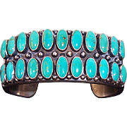 Kirk Smith Navajo Native American Double Row Turquoise Sterling Cuff Bracelet