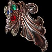 Vintage STERLING Vermeil Rhinestone Butterfly Brooch by GARMAN, PAT PENDING