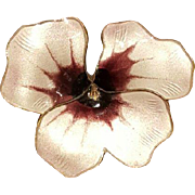 DAVID ANDERSEN Shades of Purple Guilloche Enamel Pansy Brooch, Norway, Large