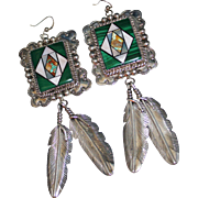 BOLD Navajo WILSON JIM Malachite MOP Turquoise Inlay Feather Earrings, Dangle