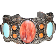Navajo Indian Handmade Sterling Spiny Oyster, Turquoise Fancy Cuff Bracelet