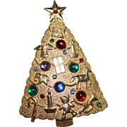 Vintage JJ Lucite Cabochon Rhinestone Christmas Tree Brooch, 1986, Figurals, HTF