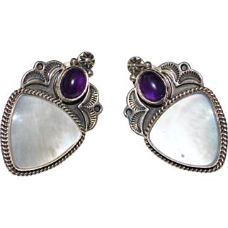 Estate Sterling Silver Signed REVE Mother of Pearl Amethyst Cabochon Earrings