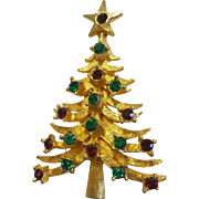 Vintage MYLU Red and Green Rhinestone Christmas Tree Figural Brooch