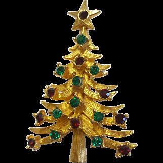 Vintage MYLU Red and Green Rhinestone Christmas Tree Figural Brooch