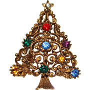 Vintage JJ Jonette Jewelry Rhinestone Swirl Christmas Tree Brooch, Flowers