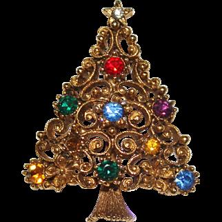 Vintage JJ Jonette Jewelry Rhinestone Swirl Christmas Tree Brooch, Flowers
